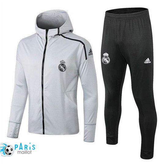 Survêtement Real Madrid Veste Gris 2018/19 à Capuche