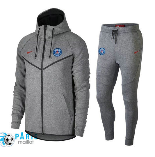 Survêtement Nike PSG Veste Gris 2018/19 Tech Fleece Windrunner