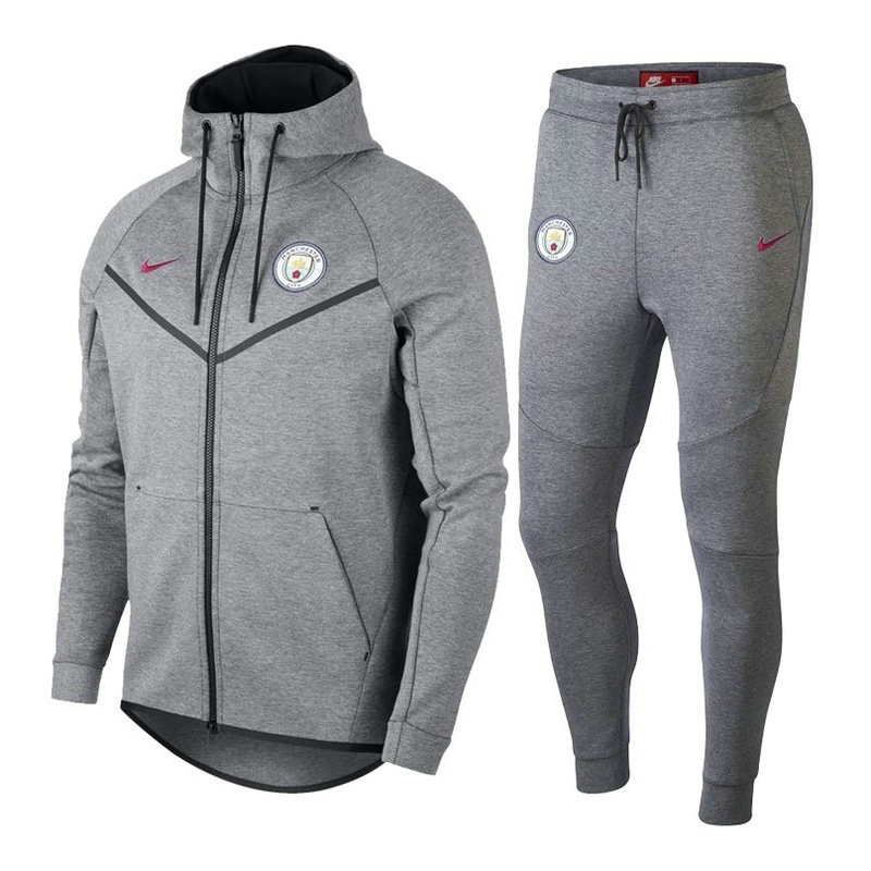 Survêtement Nike Manchester City Veste Gris 2018/19 Tech Fleece Windrunner