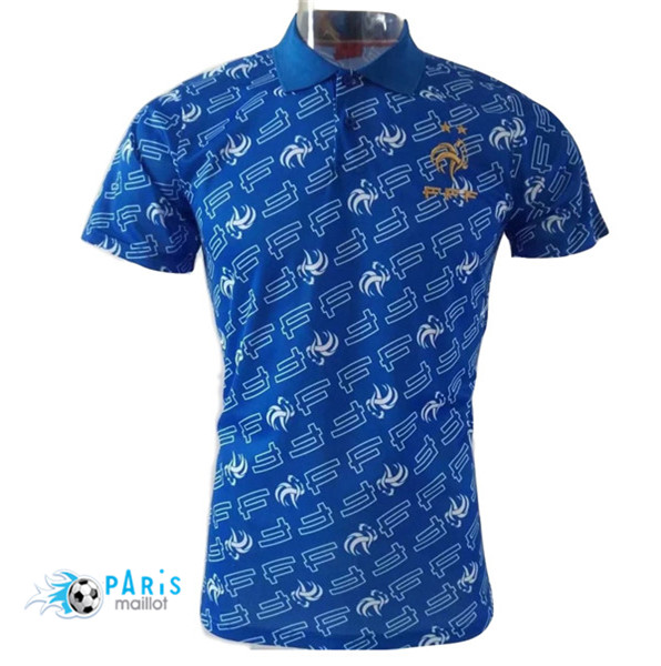 Maillotparis Maillot foot France polo Marquage Bleu 2018/19