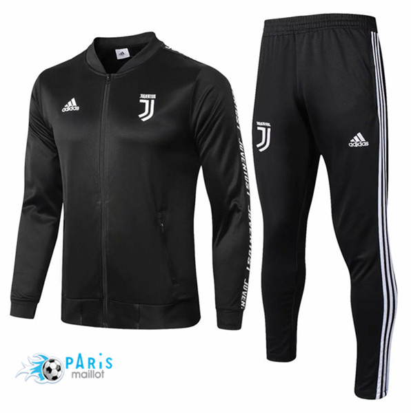 Maillotparis Maillot foot Juventus Veste Survetement Noir col bas 2018/19