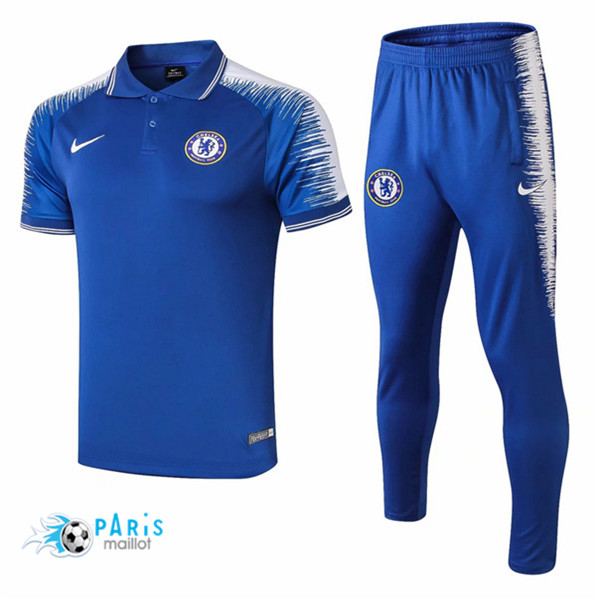 Maillotparis Maillot foot Chelsea POLO Training Bleu Strike Drill 2018/19