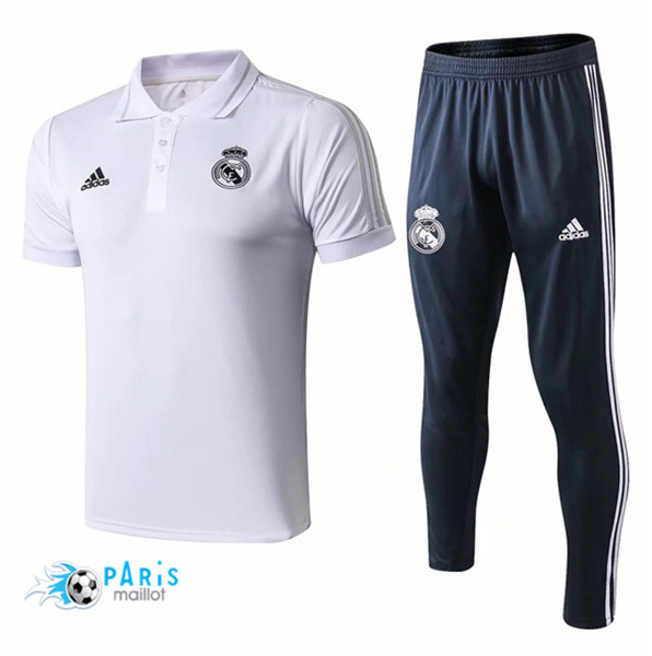 Maillotparis Maillot foot Real Madrid POLO Training Blanc 2018/19