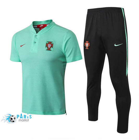 Maillotparis Nouveau Maillot portugal POLO Training Vert 2018/19