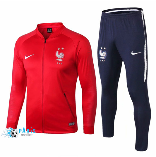 Maillotparis Nouveau Maillot Enfant France Veste Survetement Rouge 2018/19