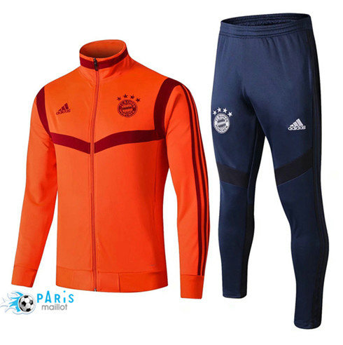 MaillotParis Veste Survêtement Bayern Munich Orange + Short Bleu 2019/2020