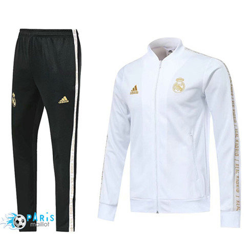 MaillotParis Veste Survêtement Real Madrid Blanc 2019/2020 col bas