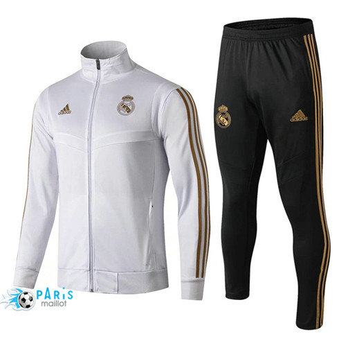 MaillotParis Veste Survêtement Real Madrid Blanc 2019/2020 Col Haut