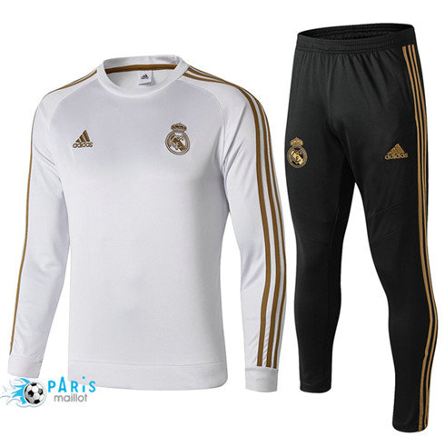 MaillotParis Survêtement Real Madrid Blanc 2019/2020 Col Rond