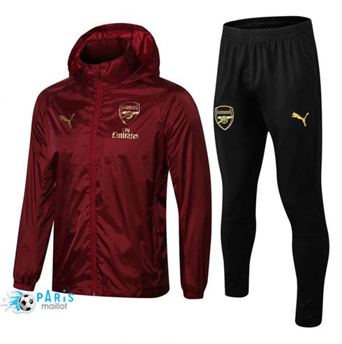MaillotParis Arsenal Coupe vent Jujube Rouge 2018/2019 a Capuche