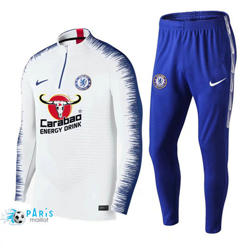 MaillotParis Survêtement Chelsea Blanc + Short Bleu 2019/2020 Strike Drill