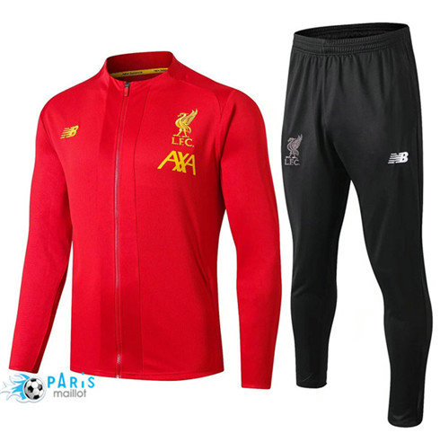 MaillotParis Veste Survêtement Liverpool Rouge + Short Noir 2019/2020