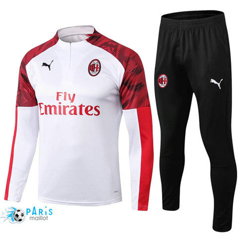 MaillotParis Survêtement AC Milan Blanc 2019/2020 sweat zippe
