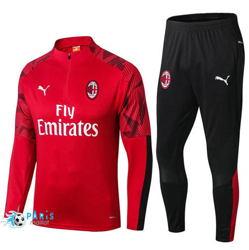 MaillotParis Survêtement AC Milan Rouge 2019/2020 sweat zippe