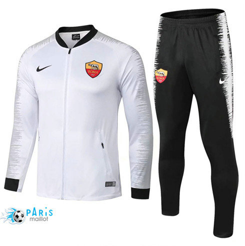 MaillotParis Veste Survêtement AS Roma Blanc + Short Noir 2018/2019