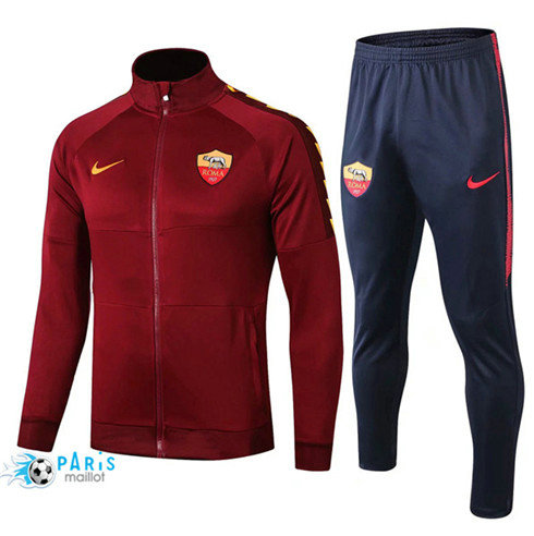 MaillotParis Veste Survêtement AS Roma Jujube Rouge + Short Bleu 2019/2020