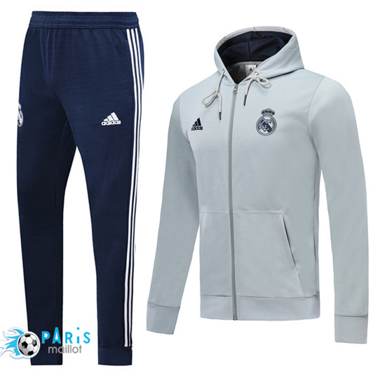 Maillotparis Nouveau à Capuche Veste Survetement Real Madrid Gris clair 2019/20
