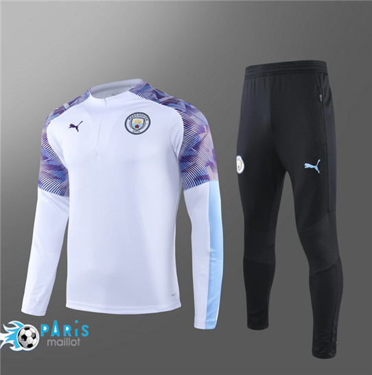 Maillotparis Nouveau Survetement Manchester City Enfant Blanc 2019/20