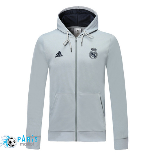 Maillotparis Nouveau Sweat à capuche Real Madrid Gris clair 2019/20