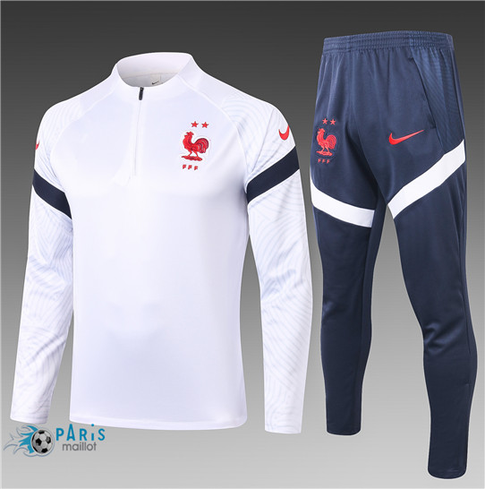Maillotparis Nouveau Survetement France Enfant Blanc 2020/21