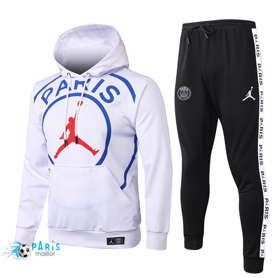 Maillotparis Thailande Survetement PSG Blanc PARIS Jordan Sweatshirt à capuche 2020/21