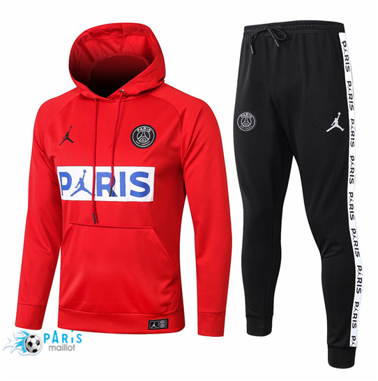Maillotparis Thailande Survetement PSG Rouge / Blanc / Bleu PARIS Jordan Sweatshirt à capuche 2020/21