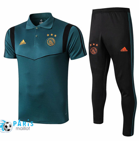Maillotparis Nouveau Ensemble Training Ajax POLO + Pantalon Vert/Noir 2019/20