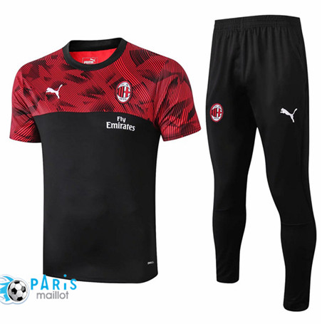 Maillotparis Nouveau Ensemble Training AC Milan + Pantalon Noir/Rouge 2019/20