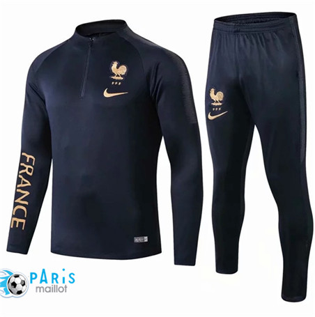 Maillotparis Nouveau Sweat zippé Survetement France Noir 2019/20