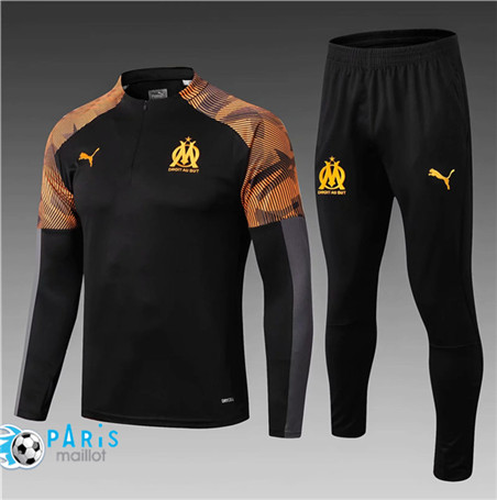 Maillotparis Nouveau Survetement Enfant Marseille Noir/Orange 2019/20