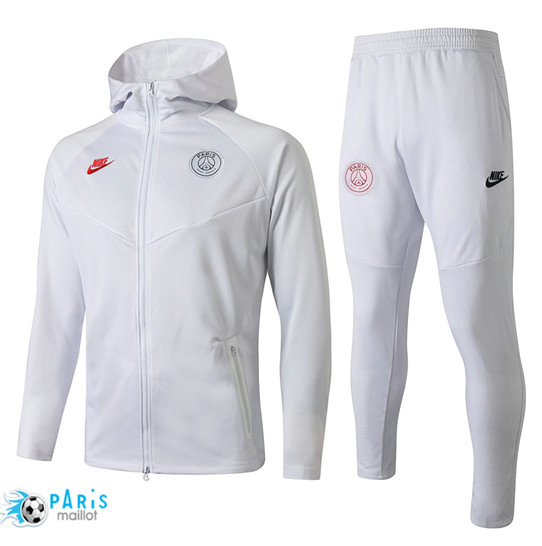 Maillotparis Nouveau à Capuche Survetement Paris Saint Germain Blanc 2019/20