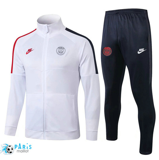 Maillotparis Nouveau Veste Survetement Paris Saint Germain Blanc/Noir 2019/20