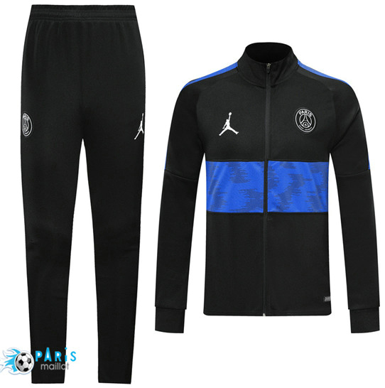 Maillotparis Nouveau Veste Survetement Paris Saint Germain Noir/Bleu bande 2019/20