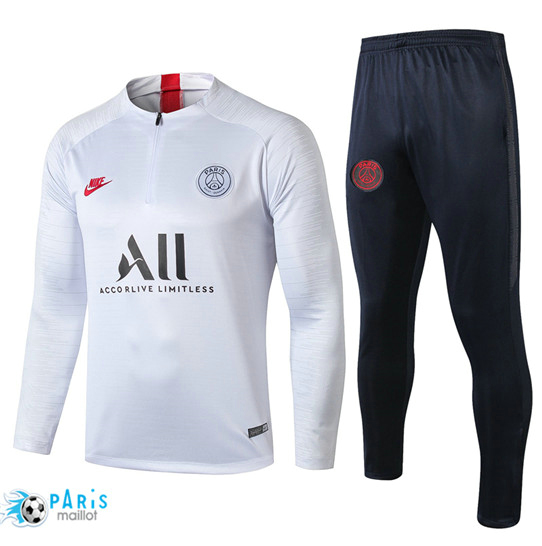 Maillotparis Nouveau sweat zippé Survetement Paris Saint Germain Blanc/Noir 2019/20