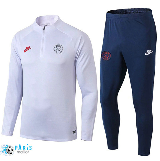 Maillotparis Nouveau sweat zippé Survetement Paris Saint Germain Blanc/Bleu Marine 2019/20
