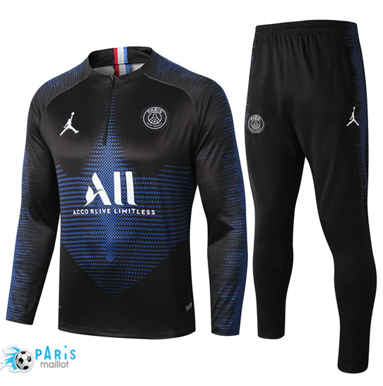 Maillotparis Nouveau sweat zippé Survetement Paris Saint Germain Noir 2019/20
