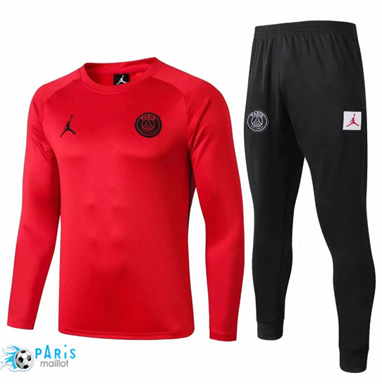 Maillotparis Nouveau Col Rond Survetement Paris Saint Germain Rouge/Noir 2019/20