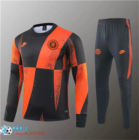 Maillotparis Nouveau Survetement Chelsea Noir Orange Jaune bande 2019/20