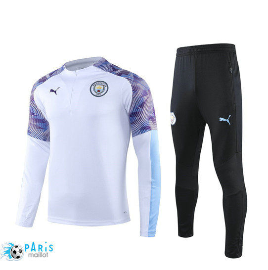 Maillotparis Nouveau sweat zippé Survetement Manchester City Blanc/Noir 2019/20