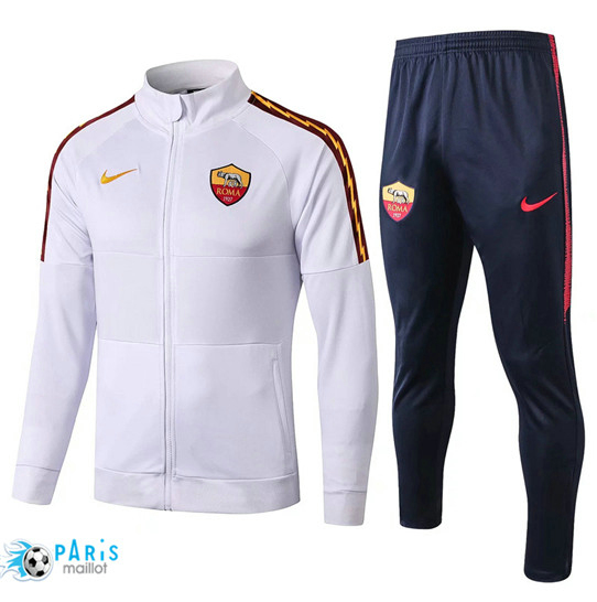 Maillotparis Nouveau Veste Survetement AS Roma Blanc/Bleu Marine 2019/20