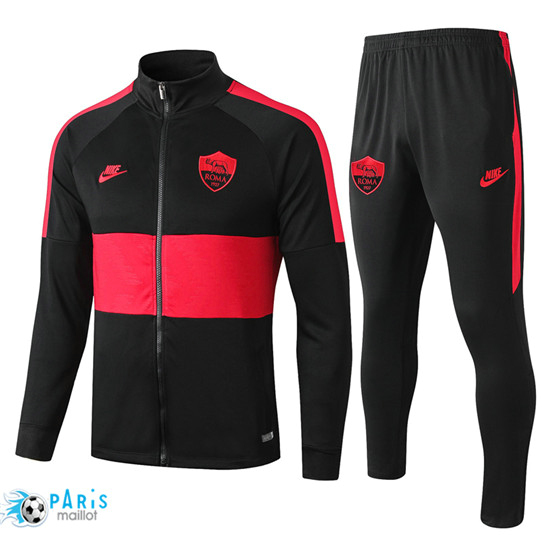 Maillotparis Nouveau Veste Survetement AS Roma Noir/Rouge bande 2019/20