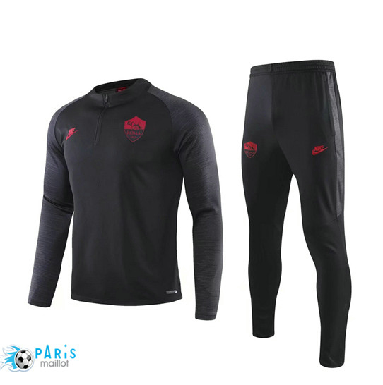 Maillotparis Nouveau sweat zippé Survetement AS Roma Noir 2019/20
