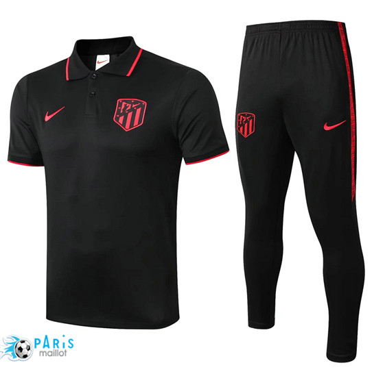 Maillotparis Nouveau Training POLO Atletico Madrid + Pantalon Noir/Rouge bande 2019/20