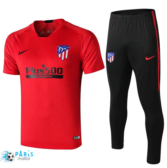 Maillotparis Nouveau Col V Training Atletico Madrid + Pantalon Rouge/Noir 2019/20