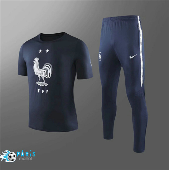 Maillotparis Nouveau Col Rond Training France + Pantalon Noir 2019/20