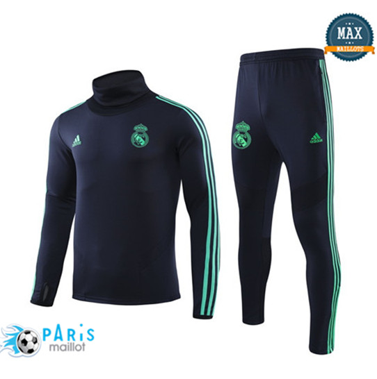Maillotparis Nouveau Col haut Survetement Real Madrid Champions League Bleu Marine/Bleu 2019/20
