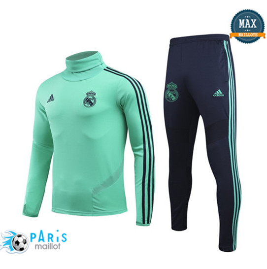 Maillotparis Nouveau Col haut Survetement Real Madrid Champions League Vert 2019/20