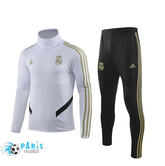 Maillotparis Nouveau Ensemble Real Madrid Survetement Blanc/Noir 2019/20 Col Haut