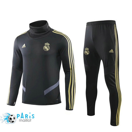 Maillotparis Nouveau Ensemble Real Madrid Survetement Noir 2019/20 Col Haut