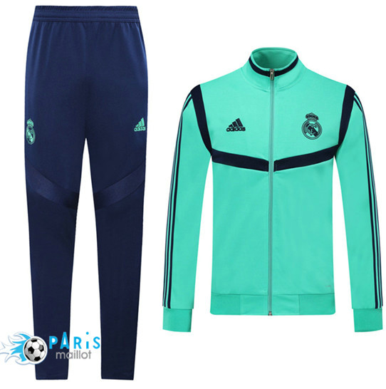 Maillotparis Nouveau Ensemble Real Madrid Veste Survetement Vert/Bleu 2019/20